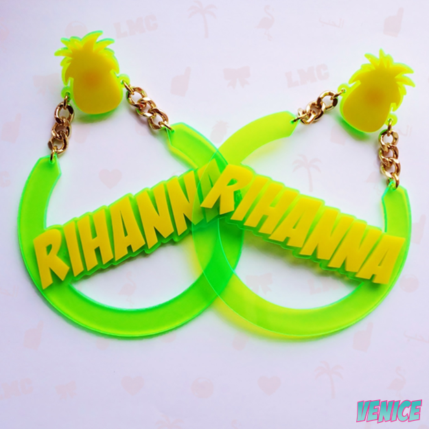 Rihanna Name Earrings