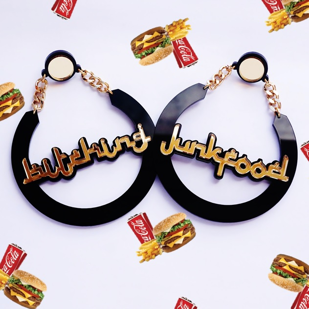 Love My Custom x Bitching & Junkfood Name Earrings